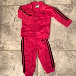 Adidas pink track suit 12 mo baby girl